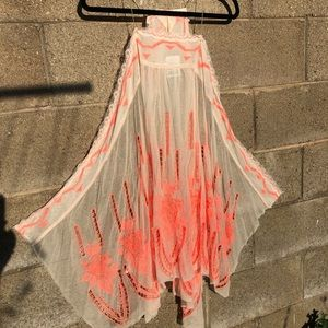 FREE PEOPLE Gorgeous Ivory Orange Tunic Dress NWT